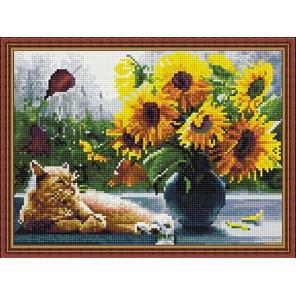 Кот и подсолнухи Алмазная вышивка мозаика на подрамнике EQ10304