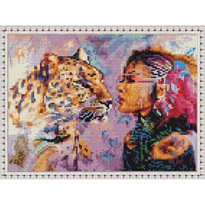 Девушка и леопард Алмазная вышивка мозаика на подрамнике EQ10383