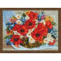 Корзинка с полевыми цветами Алмазная вышивка мозаика на подрамнике EQ10342