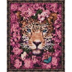 Гепард в цветах Алмазная вышивка мозаика на подрамнике EQ10364