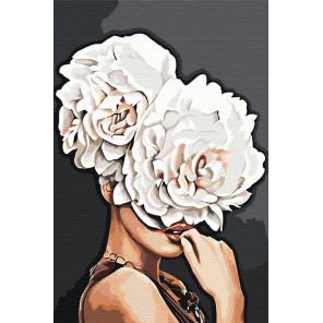 Девушка с пионами Раскраска картина по номерам на холсте DAA030899