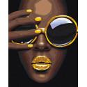Африканка с желтыми очками Раскраска картина по номерам на холсте AAAA-RS020-80x100
