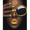 Африканка с желтыми очками Раскраска картина по номерам на холсте AAAA-RS020-100x125