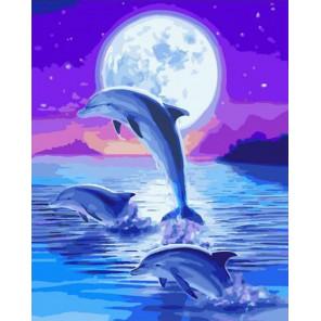 Дельфины под лунным сиянием Раскраска картина по номерам на холсте PK72052