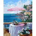 Уютная веранда ресторана Раскраска картина по номерам на холсте PK72033