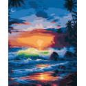 Бушующие волны на закате Раскраска картина по номерам на холсте PK72018