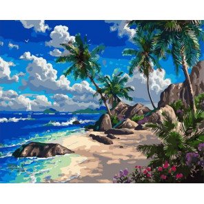 Тропический пляж Раскраска картина по номерам на холсте PK72003