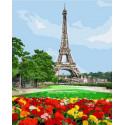 Цветочная поляна перед Эйфелевой башней Раскраска картина по номерам на холсте PK72002