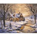 Уютный зимний домик Раскраска картина по номерам на холсте GX3655