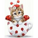Котенок-божья коровка Раскраска картина по номерам на холсте PKC72075