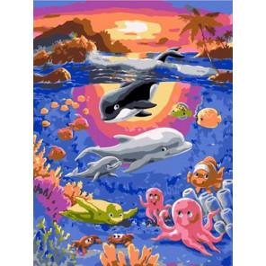 Подводный мир Раскраска картина по номерам на холсте PKC72074