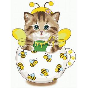 Котик-сладкоежка Раскраска картина по номерам на холсте PKC72071