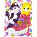 Котята и кеды Раскраска картина по номерам на холсте PKC72070
