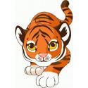 Охотящийся тигренок Раскраска картина по номерам на холсте PKD72065