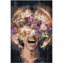 Крик с цветами 100х150 Раскраска картина по номерам на холсте