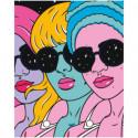 Разноцветные девушки в очках 100х125 Раскраска картина по номерам на холсте