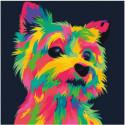 Радужный щенок 80х80 Раскраска картина по номерам на холсте
