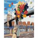 Следуй за мной, девушка и воздушные шары Раскраска картина по номерам на холсте