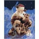 Санта-Клаус с лесными зверями 80х100 Раскраска картина по номерам на холсте