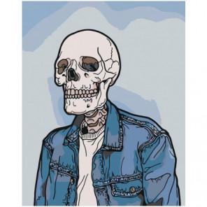 Скелет в джинсовом пиджаке Раскраска картина по номерам на холсте