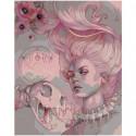 Девушка в розовых тонах 80х100 Раскраска картина по номерам на холсте