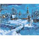 Зимний пейзаж с церковью 100х125 Раскраска картина по номерам на холсте