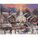 Зимний городок 80х100 Раскраска картина по номерам на холсте