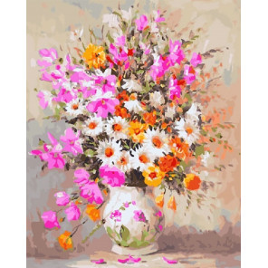 Нежный букет с ромашками Раскраска картина по номерам на холсте