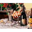 Шампанское Раскраска картина по номерам на холсте