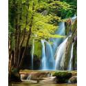 Водопад в горах Раскраска картина по номерам на холсте