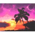 Южный закат Раскраска картина по номерам на холсте