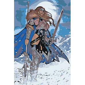 Пример в интерьере Девушка воин. Валькирия Раскраска картина по номерам на холсте AAAA-RS023