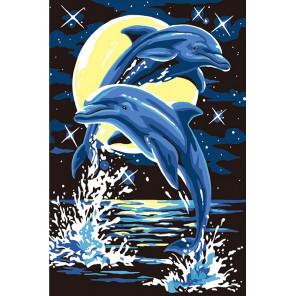 Лунные дельфины Раскраска по номерам на холсте KH0853
