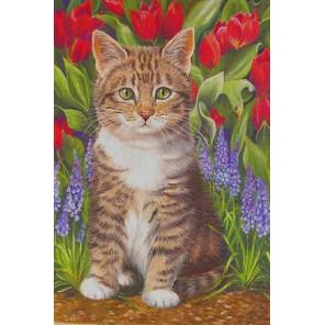 Котёнок в саду Раскраска по номерам на холсте KH0872