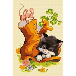 Котёнок в ботинке Раскраска по номерам на холсте KH0880