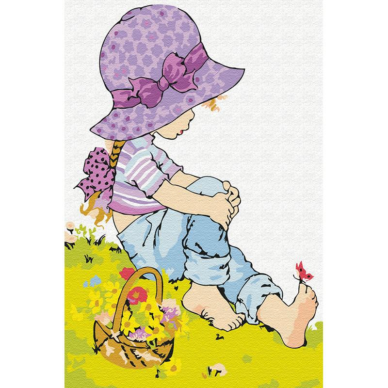 KH0888 Девочка на полянке Раскраска по номерам на холсте ...