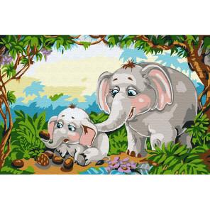 Слоны в джунглях Раскраска по номерам на холсте KH0897