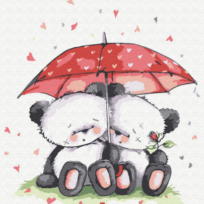 Медвежата под зонтом Раскраска картина по номерам на холсте KH0826