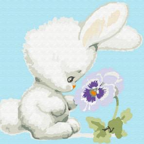 Зайчонок с цветком Раскраска картина по номерам на холсте KH0835