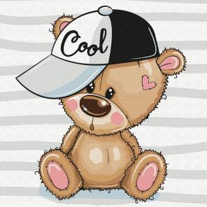 Медвежонок в кепке Раскраска картина по номерам на холсте KH0842
