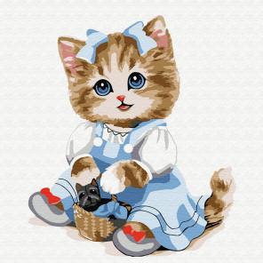 Кошечка с корзинкой Раскраска картина по номерам на холсте KH0844