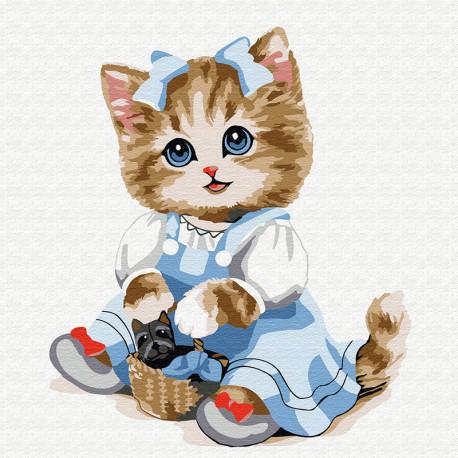 KH0844 Кошечка с корзинкой Раскраска картина по номерам на ...