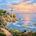 Маяк на заливе Раскраска картина по номерам на холсте KH0718