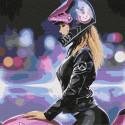 Девушка на мотоцикле Раскраска картина по номерам на холсте KHM0033