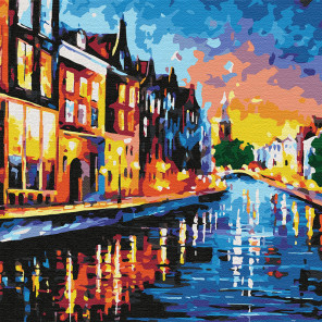 Каналы Амстердама Раскраска картина по номерам на холсте KHM0041