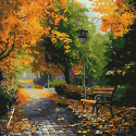 В осеннем парке Раскраска картина по номерам на холсте KH0694
