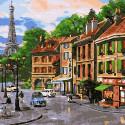 Улочки Парижа Раскраска картина по номерам на холсте KH0705