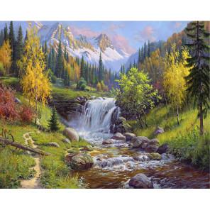 Горный ручей Раскраска картина по номерам на холсте KH0648