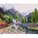 Весна в горах. Сунг Ли Раскраска картина по номерам на холсте KH0621