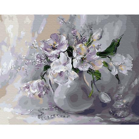 Белые тюльпаны Раскраска картина по номерам на холсте KH0652